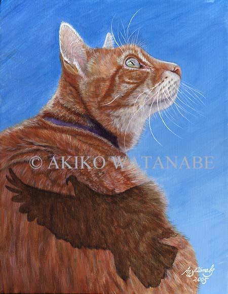 Bird Watching (Orange Tabby Ginger Cat bird) - Click Image to Close