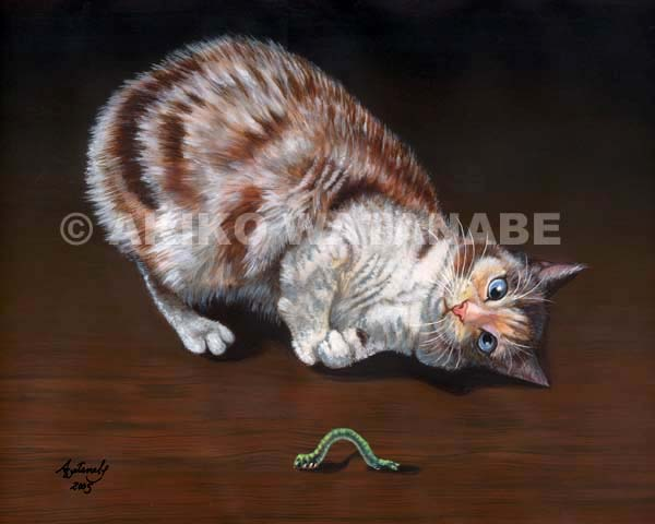Like This? (Calico Cat with Worm painting)