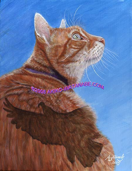 Bird Watching (11x14 tabby cat bird painting)